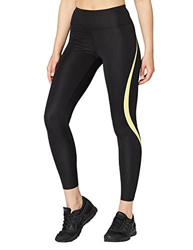Marca Amazon - AURIQUE Mallas de Deporte Tiro Alto Mujer, Negro (Black/Lime), 40, Label:M