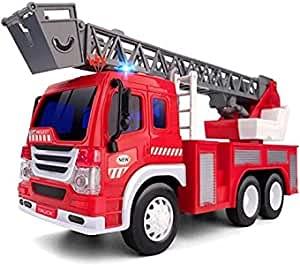 GizmoVine Camion de Pompier Véhicule avec Lumières Sons, Voiture Pompier Enfant Jouet avec éChelle Rotative De Sauvetage Extensible Construction De Jouets de Camion (Rouge)