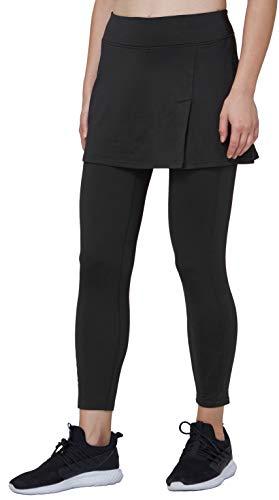 Westkun Pantalones de Falda de Mujer La Altura del Tobillo con Forro Polar Corte de Hendidura Deportes Tenis Golf Rock Legging Tela elástica 2 en 1(Negro,L)