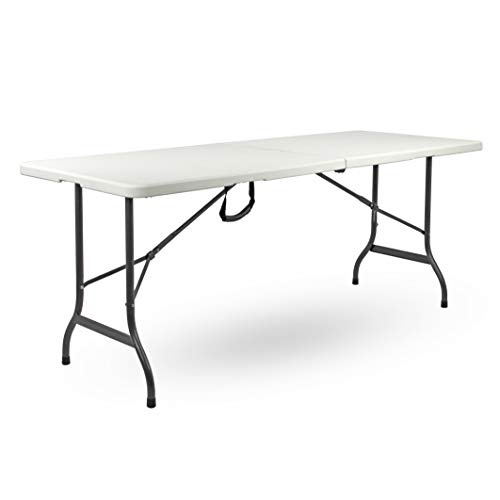 Brigros - Tavolo Pieghevole da Giardino Bianco Perfetto Come Tavolo da Campeggio, da Buffet, da Cucina | Tavolino Esterni Richiudibile a Valigetta con Maniglia (152x75x72)