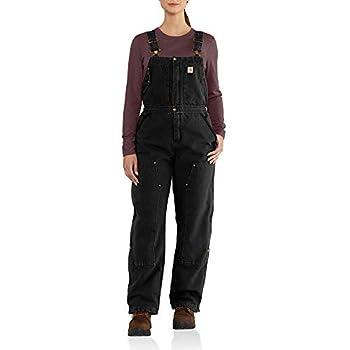 Carhartt Women s Weathered Duck Wildwood Bib Overalls  Regular and Plus Sizes  black Small