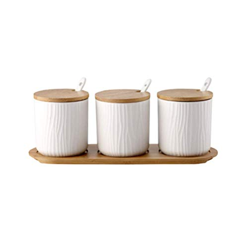 HCFSUK Ceramic Condiment Jar Spice Container, Porcelain Seasoning Box with Bamboo Lid, Spoon, Bamboo Tray 9.5x28.5cm