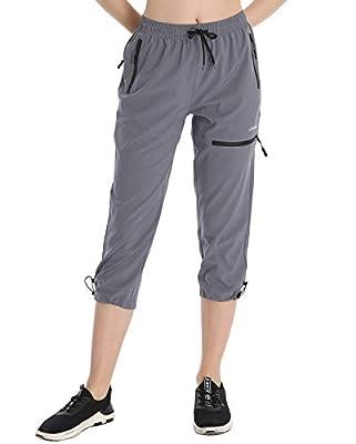 LABEYZON Women's Outdoor Hiking Pants Lightweight Quick Dry UPF 50+ Athletic Sweatpants Cargo Pants with Pockets(Capri-Dark Grey XS)
