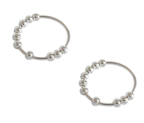2pcs Anxiety Sliding Bead Ring, Sterling Silver Stress Reliever Spinner Relax Ring, S990 Sterling Silver Simple Geometric Beaded, Fidget Spinner Rings for Anxiety Women (S)