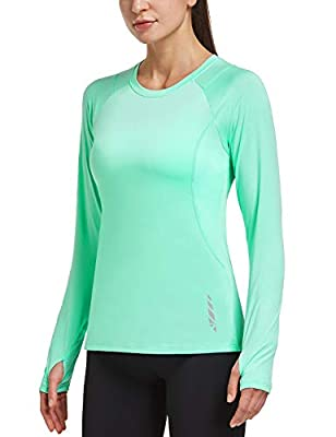 BALEAF Women's Long Sleeve Workout Quick Dry Shirts Thumbholes Cool Breathable Running T-Shirts Exercise Outdoor Hiking Mint Green M
