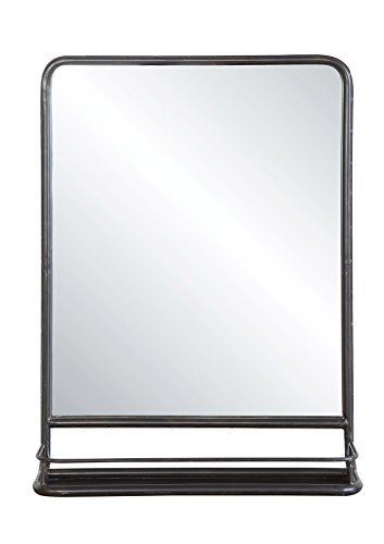 Creative Co-op DA4675 Rectangle Metal Wall Mirror with Shelf, Single Vanity, Distressed Black