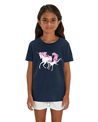 Hilltop Hochwertiges Kinder Mädchen T-Shirt aus 100% Bio Baumwolle mit wunderschönem Einhorn Motiv, Premium Kinder Tshirt für Freizeit und Sport, Size:122/128, Color:French Navy
