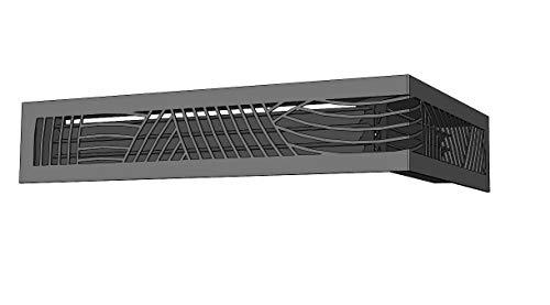 GNIAL - Rejilla oculta de esquina con rejillas – Ventilación para chimeneas – GNIAL (ángulo derecho, decoración curva, negro)