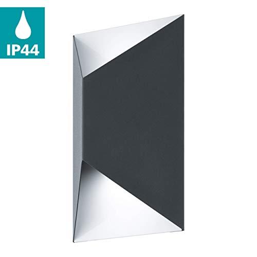 EGLO LED buiten-wandlamp Predazzo, 2 spots buitenlampen, wandlamp van gegalvaniseerd staal, kleur: antraciet, wit, IP44