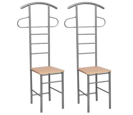 Cikonielf Gentleman's Valet sedie 2 Pezzi in Metallo,Sedie Vestiti,Sedie Appendiabiti servo Muto,Struttura in Metallo + Seduta in truciolare,52 x 40 x 120 cm