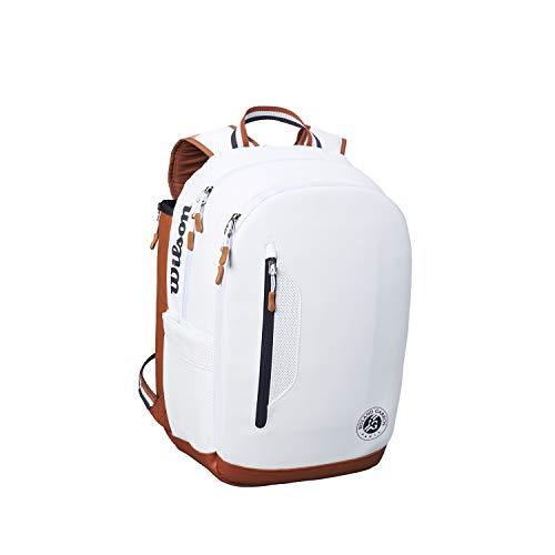 Wilson Tennis-Rucksack, Roland Garros Tour Backpack, Für bis zu 2 Schläger, Weiß, WR8006602001