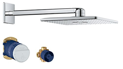 Grohe 26504000 Rain 310 Smart Active 2-Spray Cube Shower Head Set, Starlight Chrome