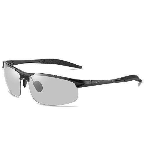 LALB Gafas De Sol, Gafas De Sol Polarizadas para Deportes De Medio Marco De Magnesio De Aluminio para Hombre, Visión Nocturna Día Y Gafas De Sol Polarizadas Nocturnas,O