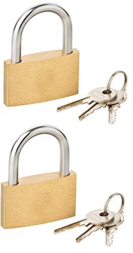2 stuks hangslot 40 x 53 mm met 2 x 3 stuks sleutel - messing behuizing met beugeldiameter 5 mm