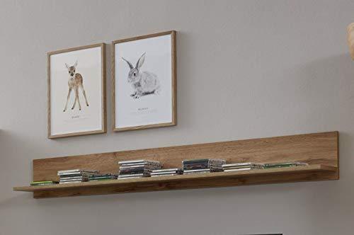 trendteam smart living Wohnzimmer Wandregal Bücherleiste Bücherregal Wandboard Rock, 148 x 19 x 18 cm in Wotan Eiche Dekor mit Ablagefläche