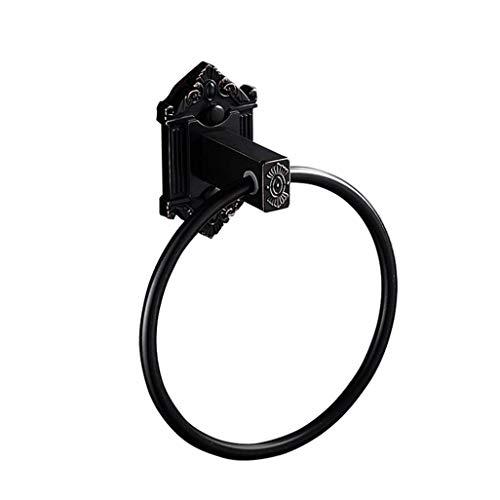 DXX-HR Toallero de anillo de cobre para colgar toallas de mano, montado en la pared, acabado cepillado, toallero de toallero, accesorio de baño para baño (negro) Toallero para baño