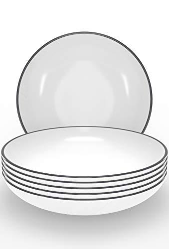 Suppenteller Set 6-tlg. - Tiefe Teller weiß im Trendy Skandinavischen Design - Spülmaschinenfeste Keramikteller - 6 Salat-, Suppen- und Pastateller - Stilvolles Geschirr Set von Pure Living
