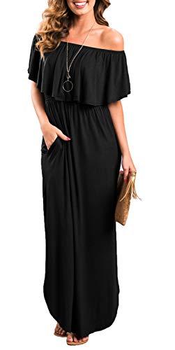 Womens Off The Shoulder Ruffle Party Dress Side Split Beach Long Maxi Dresses Black XL
