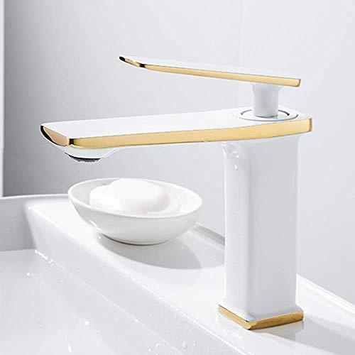 Grifo de lavabo para grifo de baño Grifo de lavabo negro moderno hecho de latón grifo de baño de montaje de un solo orificio para lavabo agua fría y caliente disponible dorado + blanco
