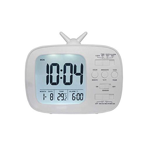 LED reloj despertador digital con formato de televisión Relojes luz de la noche del termómetro del despertador del calendario de escritorio Smart Display sensibles a la luz ajustable Reloj despertador
