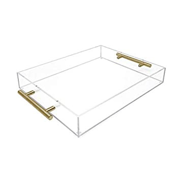 Isaac Jacobs Clear Acrylic Serving Tray  11x14  withGold MetalHandles Spill-Proof Stackable Organizer Food & Drinks Server Indoors/Outdoors Lucite Storage Décor  11x14 Clear with Gold Handle