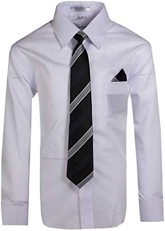 Tuxgear Boys Long Sleeve Button Up Cotton Dress Shirt Necktie 4 White 4 White product image