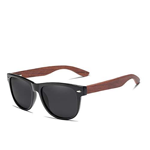 XIMAO Lentes grises Gafas de sol Polarizadas Cuadradas Lujo Vintage Antirreflejos Gafas de sol con montura de madera Gafas de sol para mujer GrayBubingawood