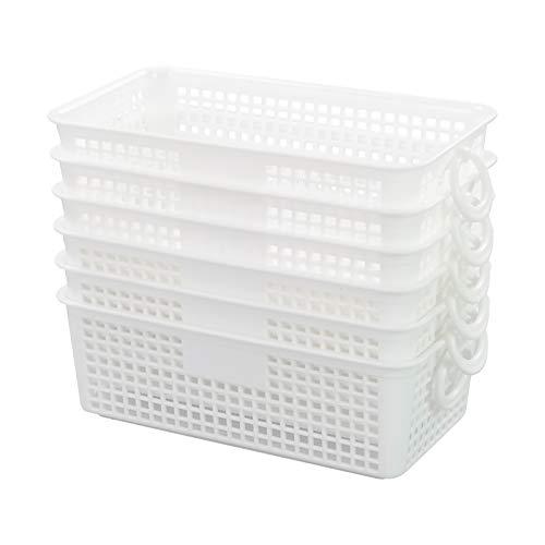 Easymanie Mini-Aufbewahrungskorb aus Kunststoff, rechteckig, Weiß, 6 Stück