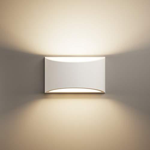 LightHUB oben unten innen Gips Wandleuchte Gipsleuchte modernes G9 wandlampen wandleuchte dekoration (fertig bemalt für LED) weiß - Perfekt für schlafzimmer, küchen, büro, Badezimmer, flurbeleuchtung