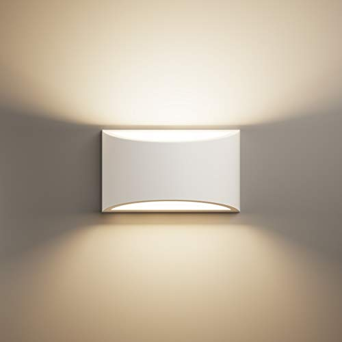 LightHUB Lámpara de pared de yeso inferior interior, Moderno, G9, lámpara de pared decorativa, color blanco, dormitorio, cocina, oficina, cuarto de baño, iluminación de pasillo, Comedor
