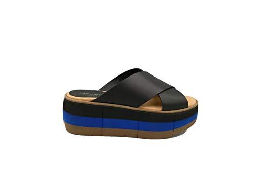 PALOMA BARCELO' - Zapatos de mujer Manami Sandalias de piel negro blanco con cuña Nuevas Shoes Casual Calzado de verano Cómodos