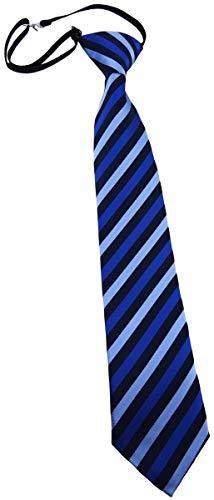 TigerTie Kinderkrawatte in blau dunkelblau gestreift - Krawatte vorgebunden mit Gummizug