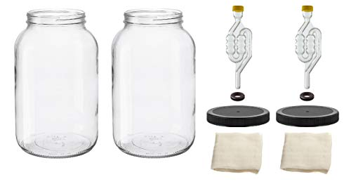 North Mountain Supply - 1G-110-TB-2 1 Gallon Glass Wide Mouth Jar With Drilled Black Plastic Lid, Twin Bubble, & Cheesecloth - Set of 2 - USDA Approved, BPA-Free, Dishwasher Safe For Fermenting