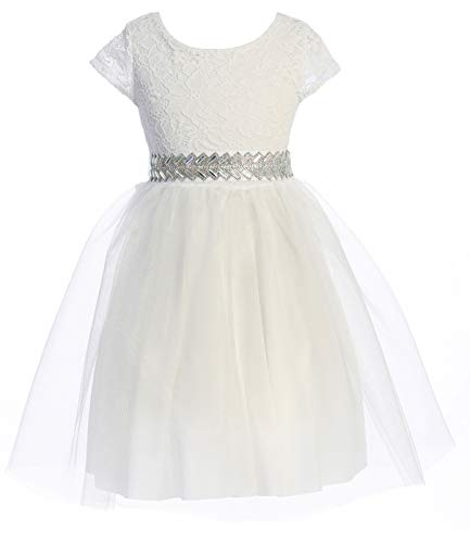 Big Girls' Cap Sleeve Floral Lace Tulle Holy First Communion Flower Girl Dress White 14 (J22KS00)