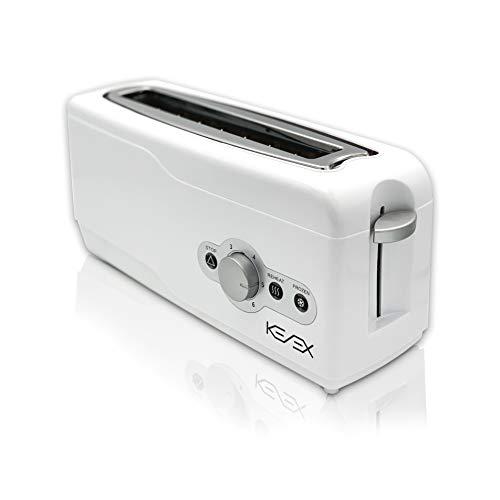 Kenex   Tostadoras Pan   Tostadora Horizontal con Ranura Extra Ancha   6 Niveles de Potencia   Múltiples Funciones   Cuerpo y Tapa Cool Zone   Electrodomésticos Cocina   Color Blanco