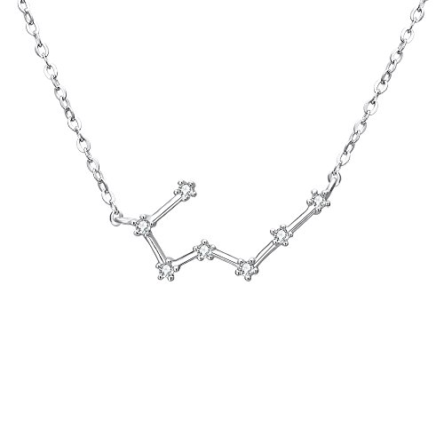 BriLove 925 Sterling Silver Necklace 12 Horoscope Astrology -\'Taurus\' Constellation Zodiac Women CZ Pendant Necklace Birthday Gift Clear April Birthstone