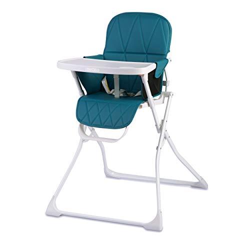 Kinder Hochstuhl Kindersitz mit abnehmnbarem Tablett Fußstütze Sicherheitsgurt Zusammenklappbar leicht platzsparend Rickids (Weiß-Blau)