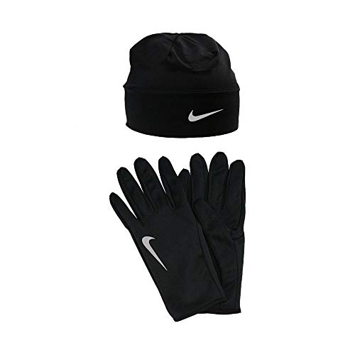 Nike Men's Dry Cap and Glove Set, Black/Silver, Small/Medium