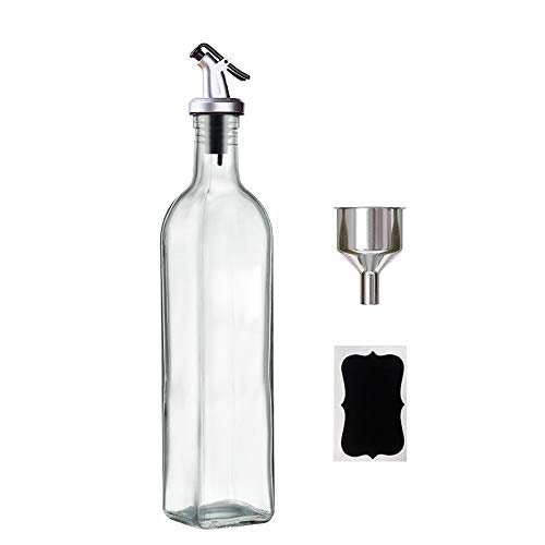 GMISUN 17oz Olive Oil Dispenser Bottle for Kitchen with Oil Pourer,Funnel and Label,Clear Glass Oil Decanter For Cooking Oil,Vinegar,Soy Sauce,Avocado Oil