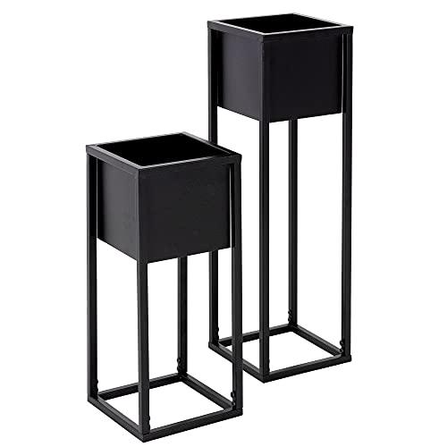 ML-Design Set 2 Supporti per Piante Altezze Diverse 21x50 / 21x70 cm Supporto Fioriera in Metallo Design Moderno Vasi Fiori Resistente alle Intemperie e Robusto da Interno Esterno Base Angolare Nero