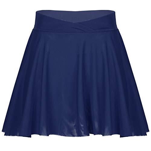inhzoy Falda de Malla de Dos Capas para Mujeres Adultas Minifalda de Cintura Elástica de Color Sólido para Entrenamiento de Ballet y Danza Azul L