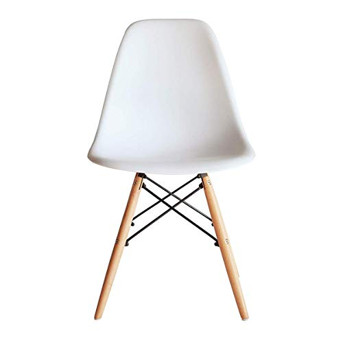 Probasto イームズシェルチェア イームズチェアー オシャレ ダイニングチェア シェルチェア イームズ 椅子 北欧 木脚 組立簡単 1脚 (ホワイト)