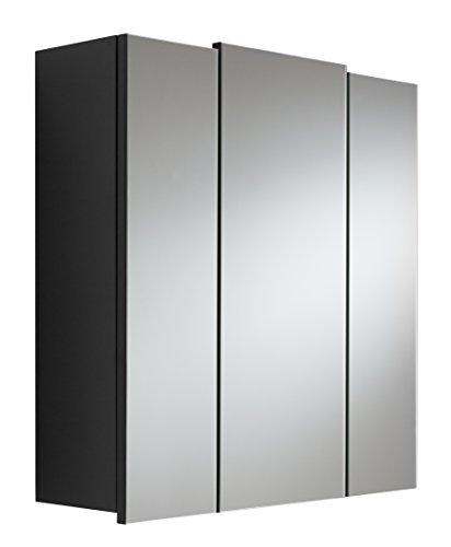 Posseik Spiegelschrank, Spanplatte, Schwarz, 68 cm l x 20 cm b x 71 cm h