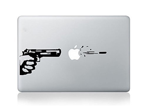 Removable Sheets Creative Shot Hit The Skin of Apple Art Decal Black for Apple MacBook Sticker4You
