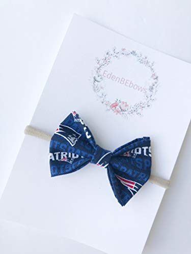 New England patriot patriots headband bow - great for baby shower, newborn, toddler girls - extra soft nylon headbands - Made in USA