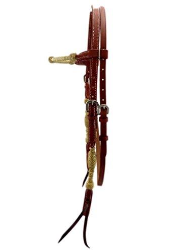 Thor Equine Cabeza de caballo Jayden con cuero crudo trenzado, Chesnut