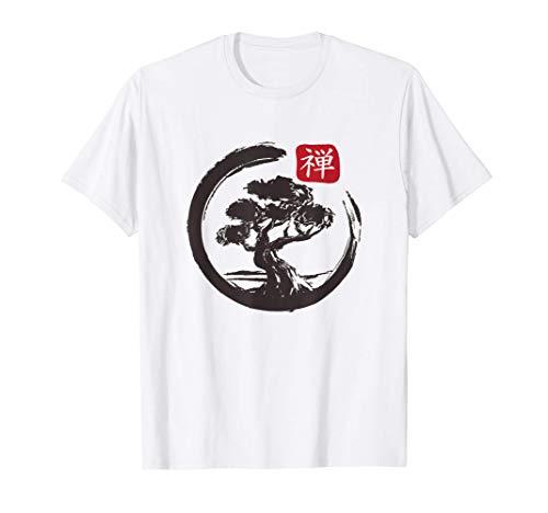 Bonsai Baum In Japanisch Zen Buddhistisch Spirituell Natur T-Shirt