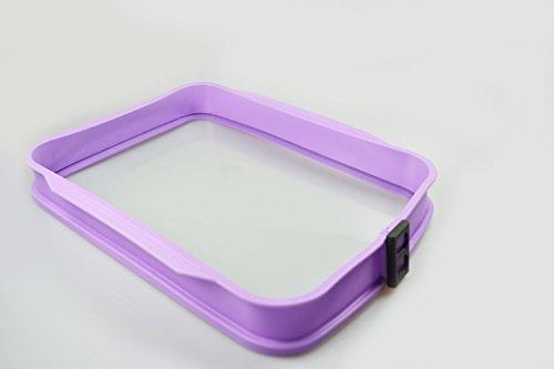 Auflaufform Silikon mit Glas- Servierplatte (Maße 37cm x 30cm x 5,5cm) (Flieder)