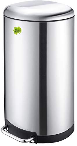 Made for us® 40 L Edelstahl Tret-Abfalleimer Mülleimer 40 Liter, Abfall-Behälter für Küche und Gastronomie, Treteimer mit Absenkautomatik, Mülltonne als gelber-Sack-Ständer Grüner-Punkt. Das original