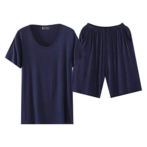 LEYUANA Conjuntos de Pijamas Modales de Manga Corta para Hombre, Pijama Fino slido para Hombre para Hombre, Traje de Dormir, Ropa de casa, XL, Cuello Redondo, Azul